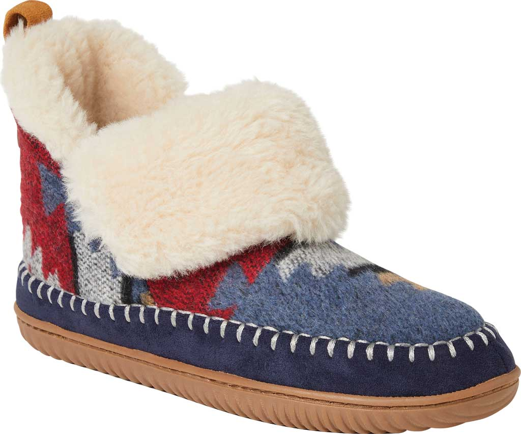 Women's Dearfoams Alpine Moritz Bootie Slipper, Navy Multi Microwool, large, image 1