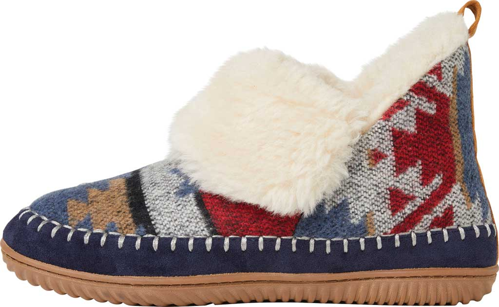 Women's Dearfoams Alpine Moritz Bootie Slipper, Navy Multi Microwool, large, image 3
