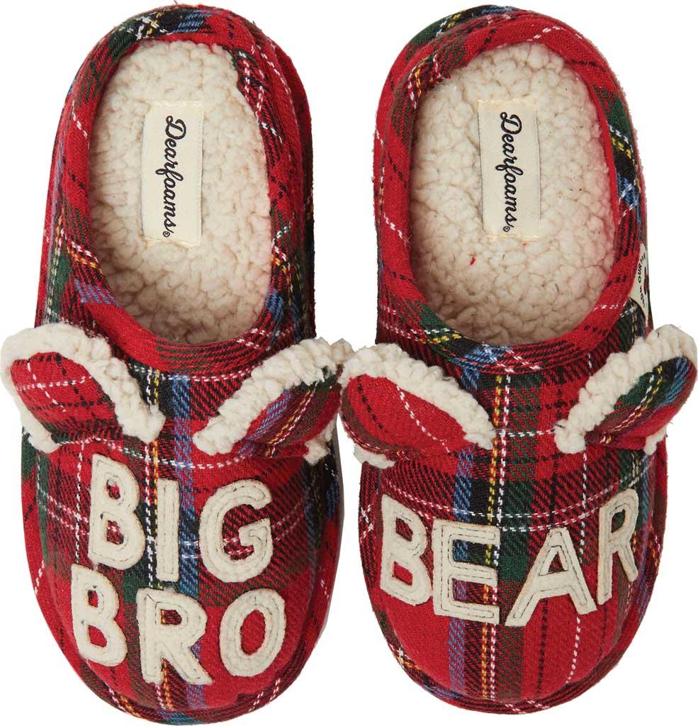 Children's Dearfoams Kids Plaid Clog Slipper, Red Plaid Big Bro, large, image 1