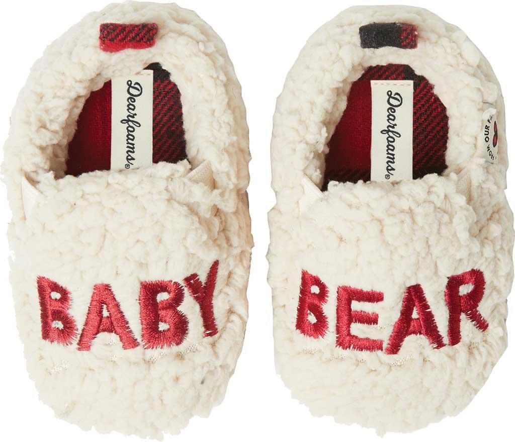 Infant Dearfoams Baby Buffalo Check Baby Bear Closed Back Slipper, Red Plaid, large, image 1