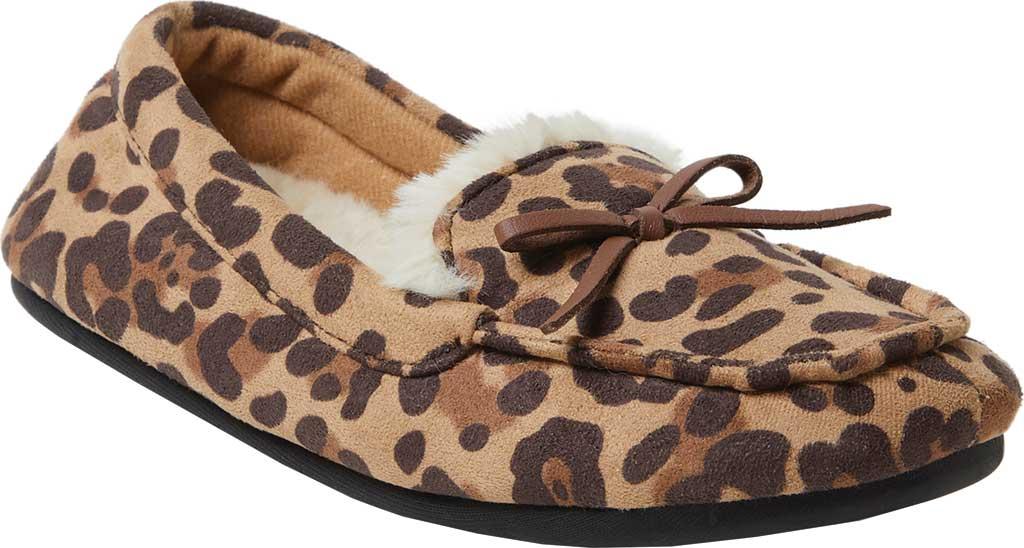Children's Dearfoams Kids Moccasin Slipper with Bow, Leopard, large, image 1
