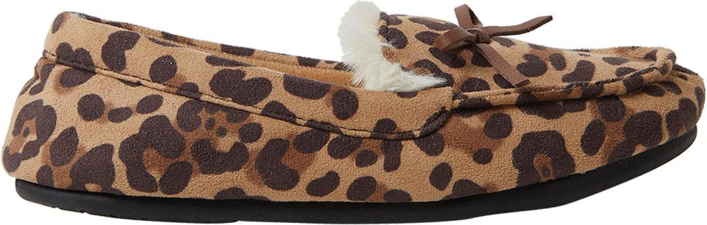 Children's Dearfoams Kids Moccasin Slipper with Bow, Leopard, large, image 2