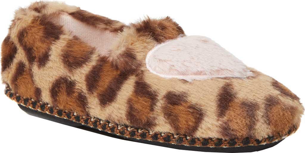 Children's Dearfoams Kids Mia Furry Closed Back Heart Detail Slipper, Leopard, large, image 1