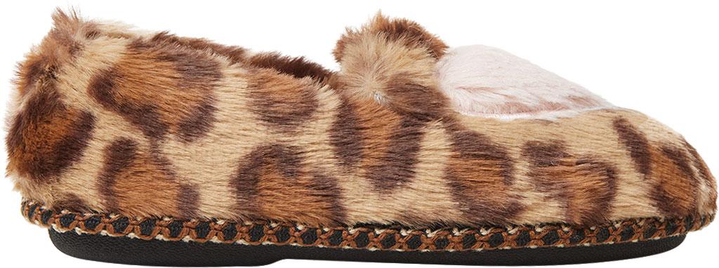 Children's Dearfoams Kids Mia Furry Closed Back Heart Detail Slipper, Leopard, large, image 2