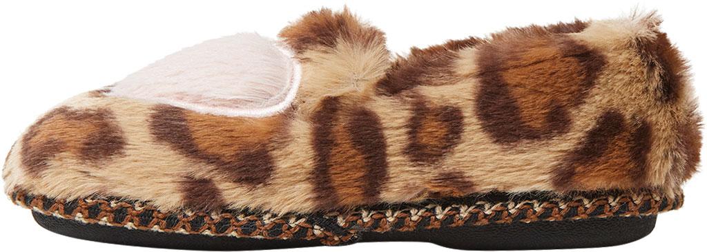 Children's Dearfoams Kids Mia Furry Closed Back Heart Detail Slipper, Leopard, large, image 3