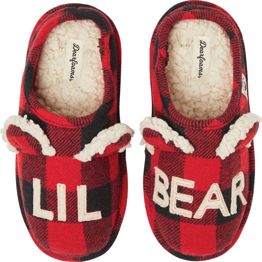 Children's Dearfoams Kids Lil Bear Red Buffalo Check Clog Slipper, Red Plaid, large, image 1