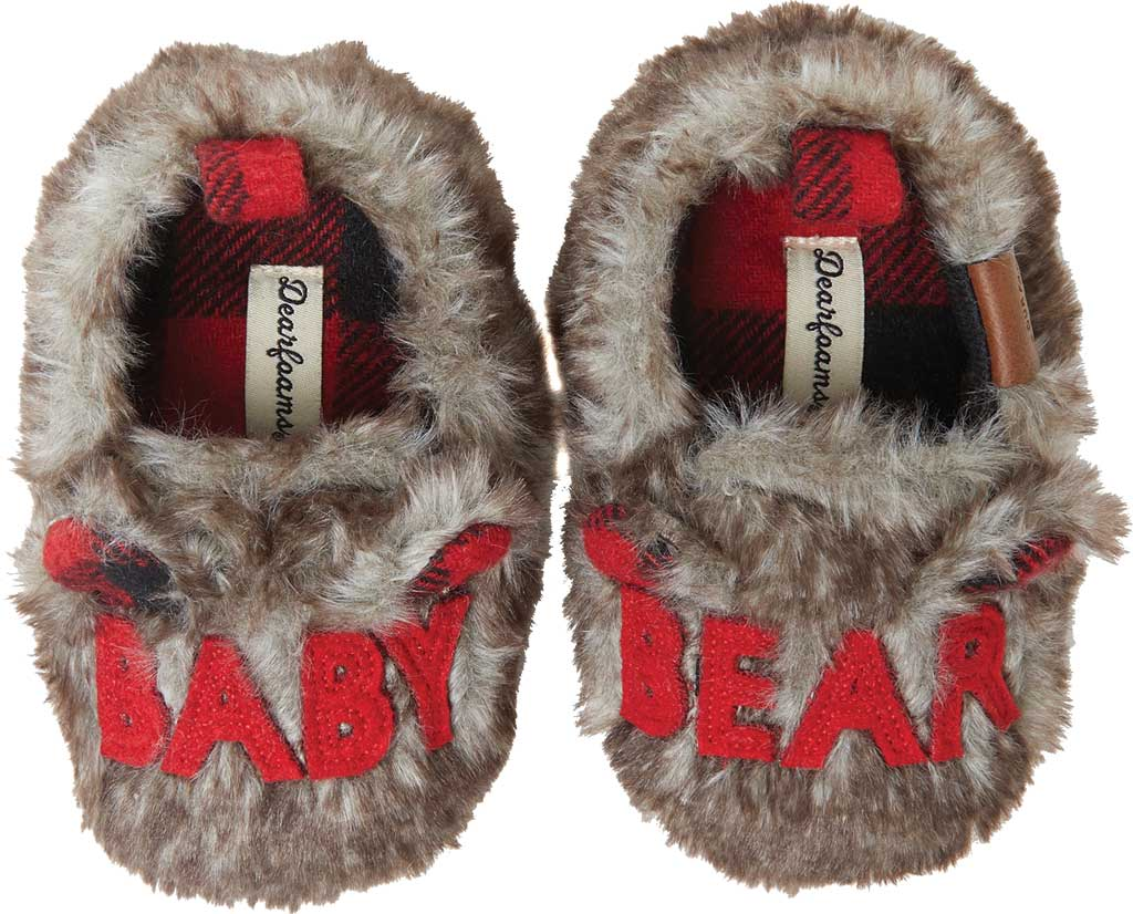 Infant Dearfoams Baby Furry Baby Bear Closed Back Slipper, Brown Frost, large, image 1