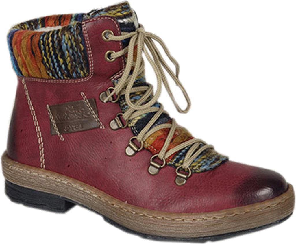 Women's Rieker-Antistress Felicitas 43 Lace Up Ankle Boot, Wine/Kastanie/Orange-Multi Synthetic/Textile, large, image 1