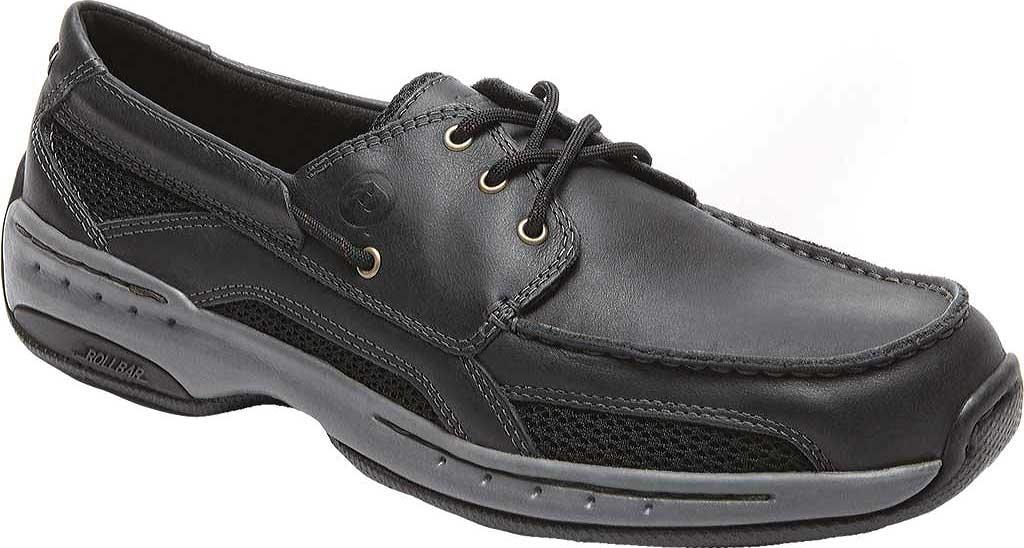 Men's Dunham Captain Mesh Boat Shoe, Black, large, image 1