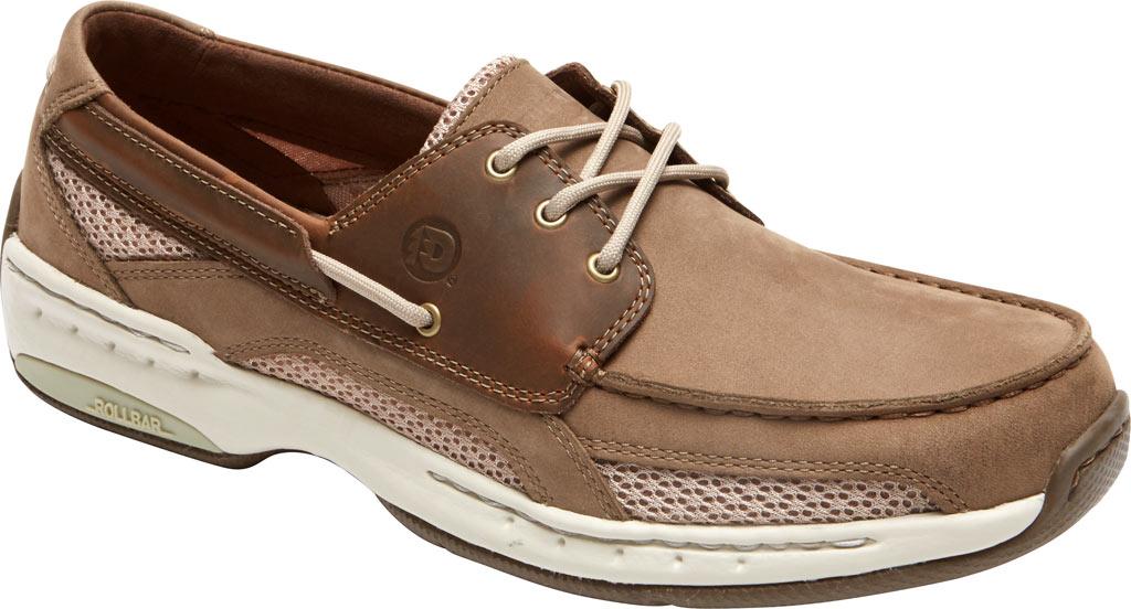 Men's Dunham Captain Mesh Boat Shoe, Two Tone Taupe Leather, large, image 1