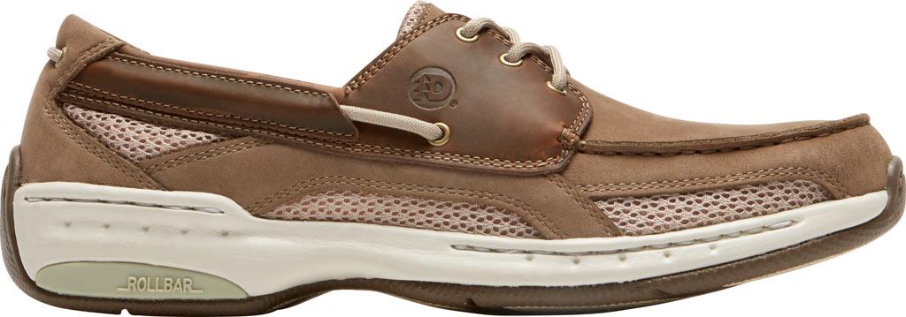Men's Dunham Captain Mesh Boat Shoe, Two Tone Taupe Leather, large, image 2