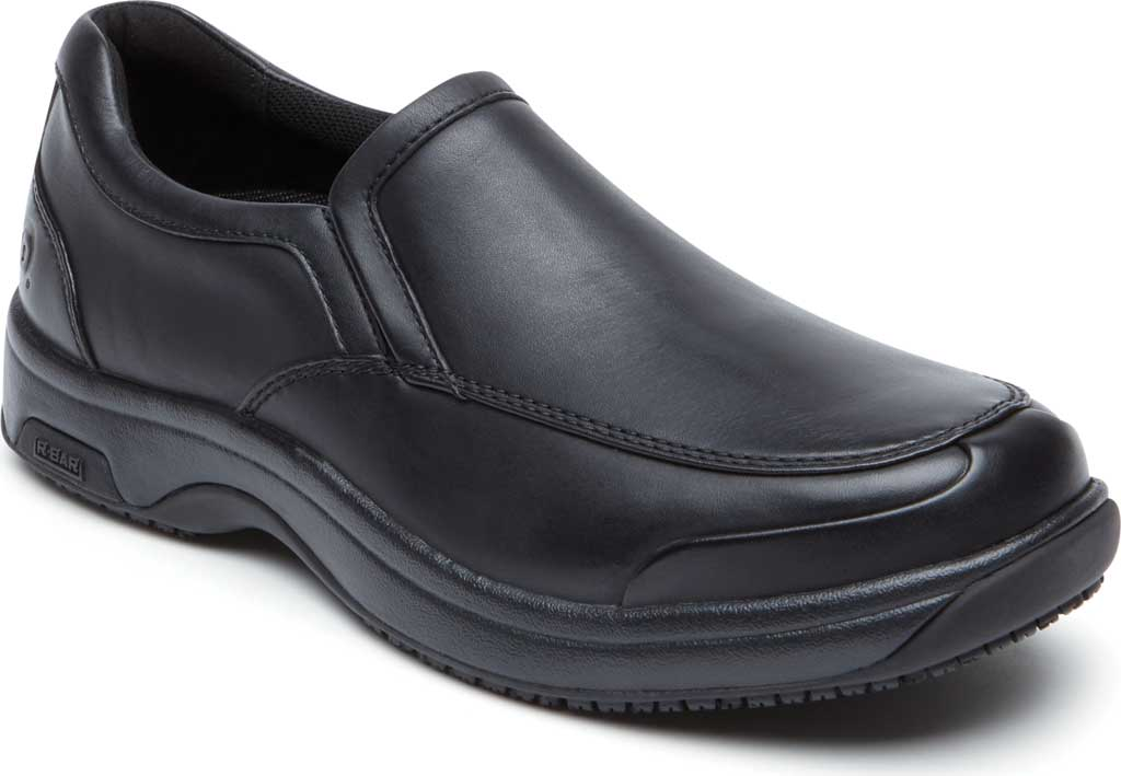 Men's Dunham Battery Park Service Slip-On, Black Leather, large, image 1