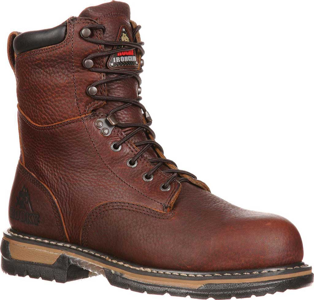 """Men's Rocky 8"""" IronClad 6693 Boot, Bridle Brown Leather, large, image 1"""