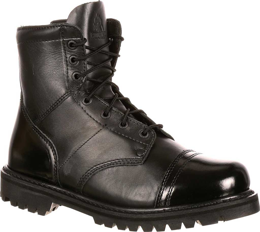 "Men's Rocky Paraboot 7"" Side Zipper Logger Boot 2091, Black Leather, large, image 1"