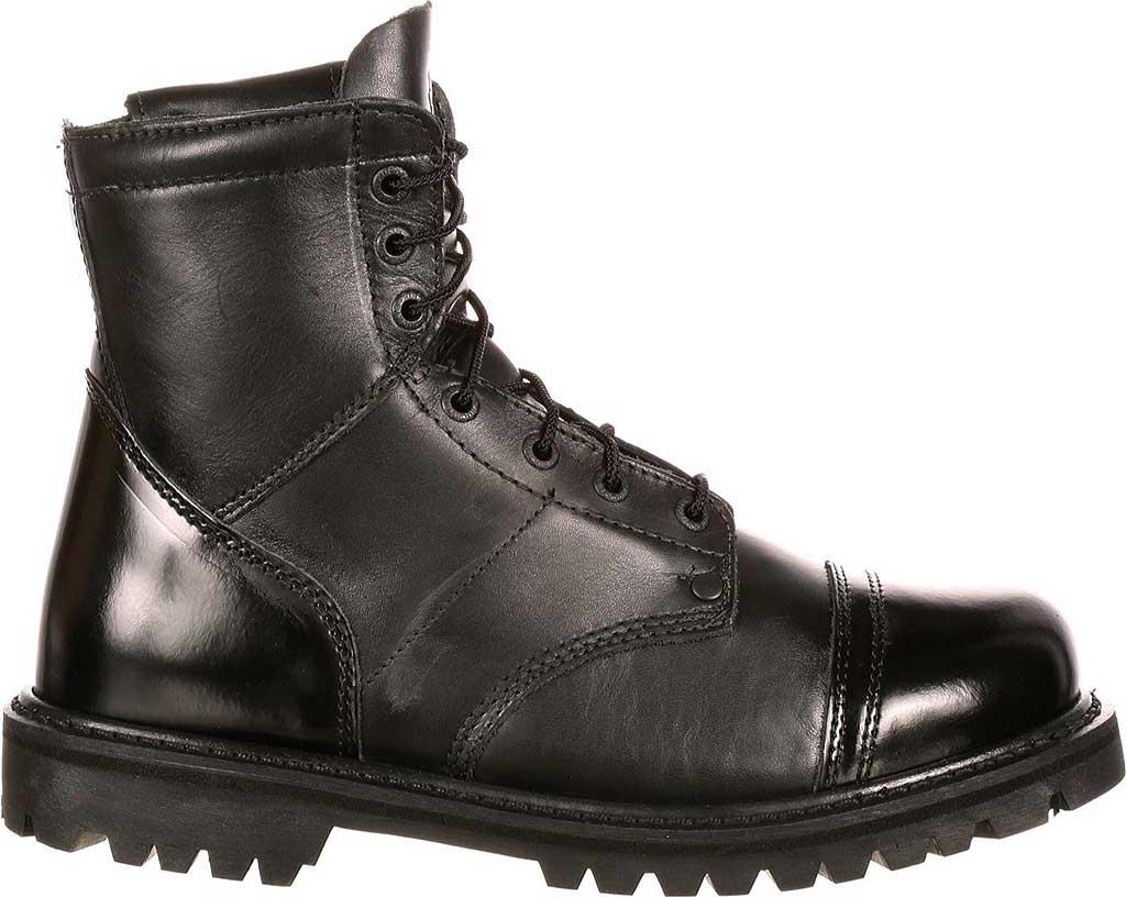 "Men's Rocky Paraboot 7"" Side Zipper Logger Boot 2091, Black Leather, large, image 2"