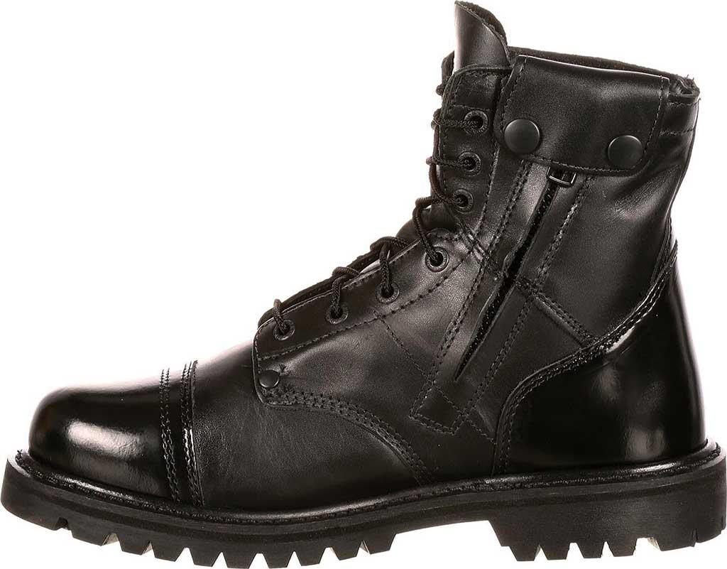 "Men's Rocky Paraboot 7"" Side Zipper Logger Boot 2091, Black Leather, large, image 3"