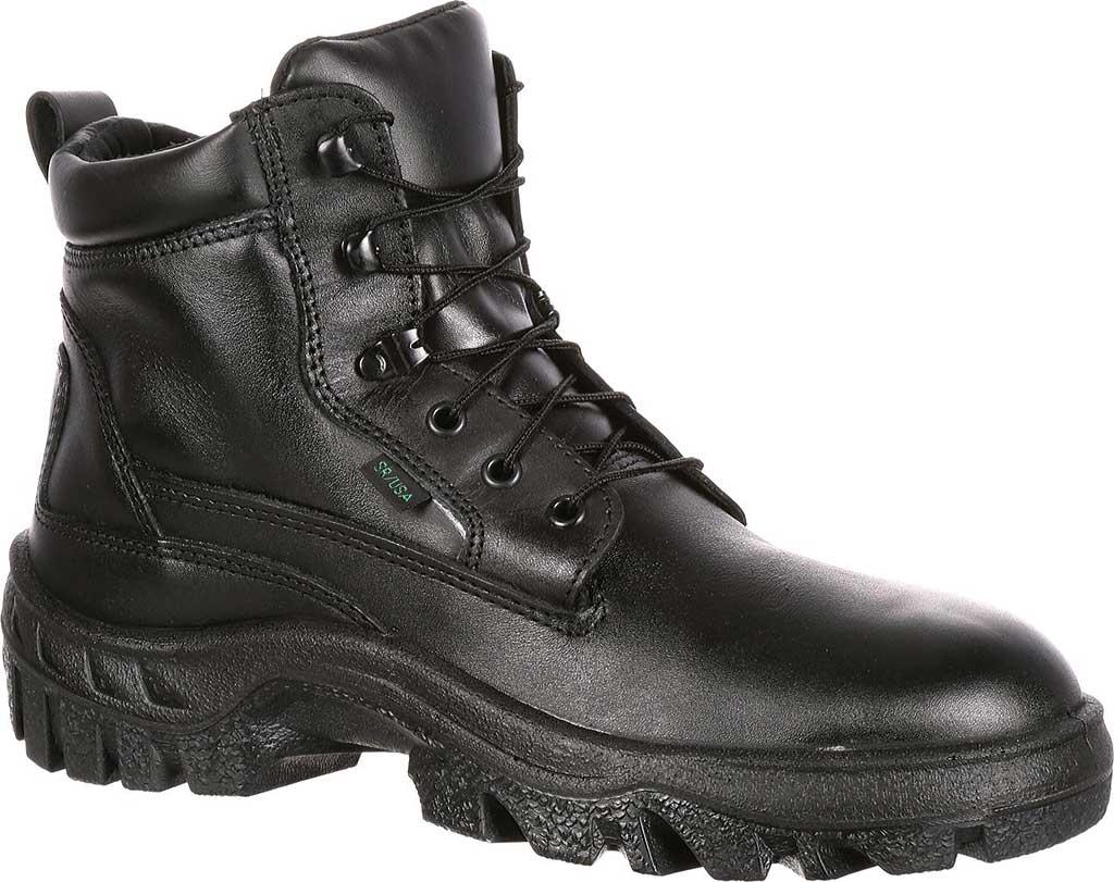 Men's Rocky Robuster Plain Toe Chukka 5019, Black Leather, large, image 1