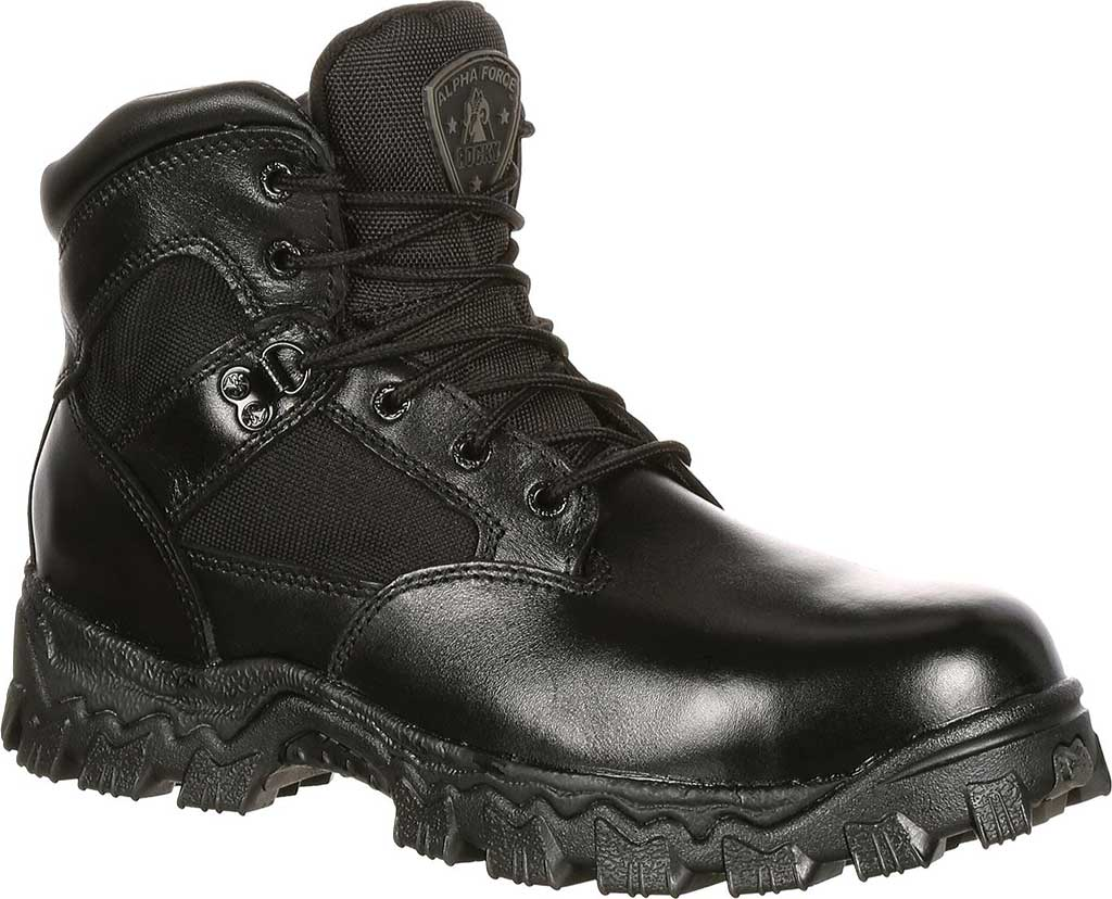 "Women's Rocky AlphaForce 6"" Waterproof Work Boot 4165, Black Leather, large, image 1"