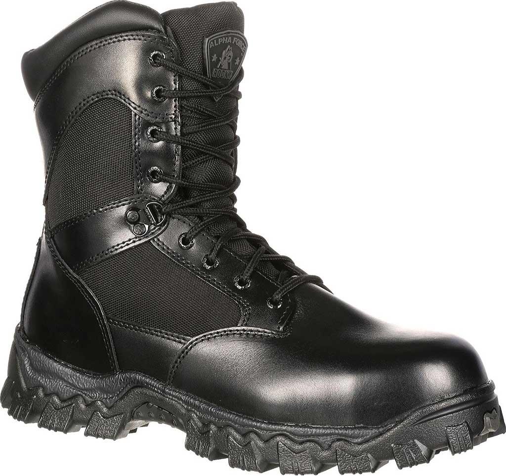 "Men's Rocky 8"" AlphaForce Zipper 2173, Black Leather, large, image 1"