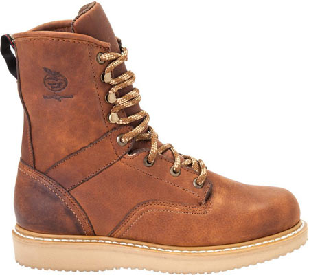 """Men's Georgia Boot G83 8"""" Wedge Safety Toe Work Boot, Gold Coast Barracuda SPR Leather, large, image 2"""