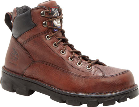 Men's Georgia Boot G63 Wide Load Eagle Light Safety Toe Work Boot, Dark Soggy Brown Full Grain Leather, large, image 1