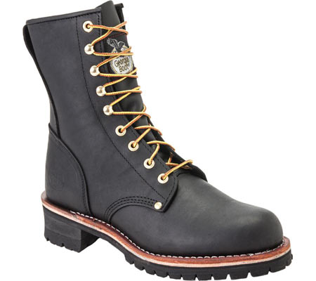 """Men's Georgia Boot G81 8"""" Logger Work Boot, Black Oil Tanned Leather, large, image 1"""
