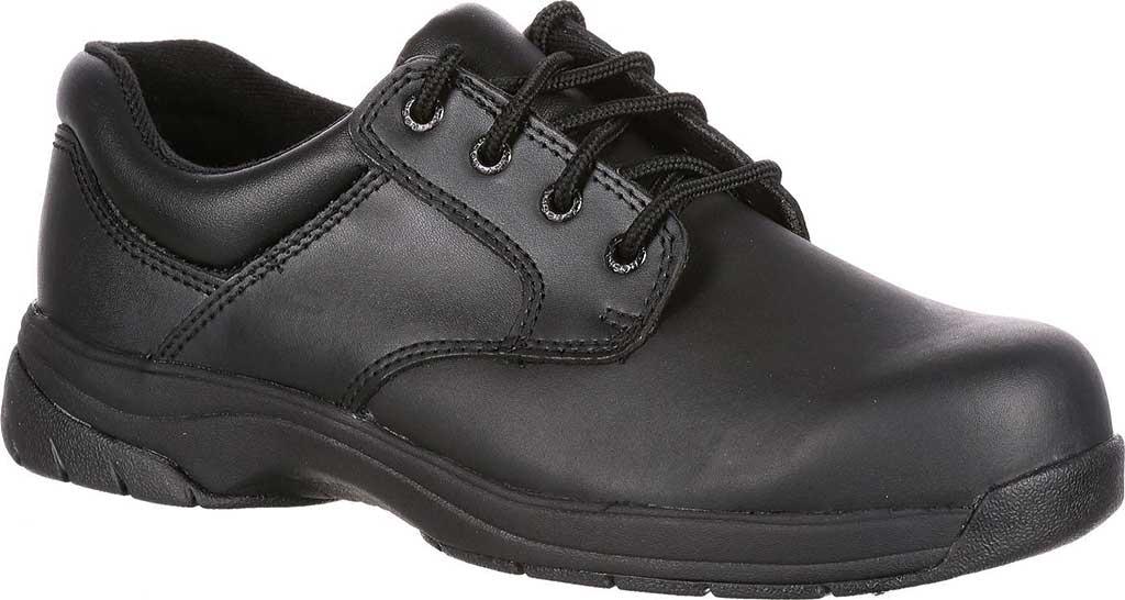Men's Rocky SlipStop Plain Toe Oxford 2034, Black Full Grain Leather, large, image 1