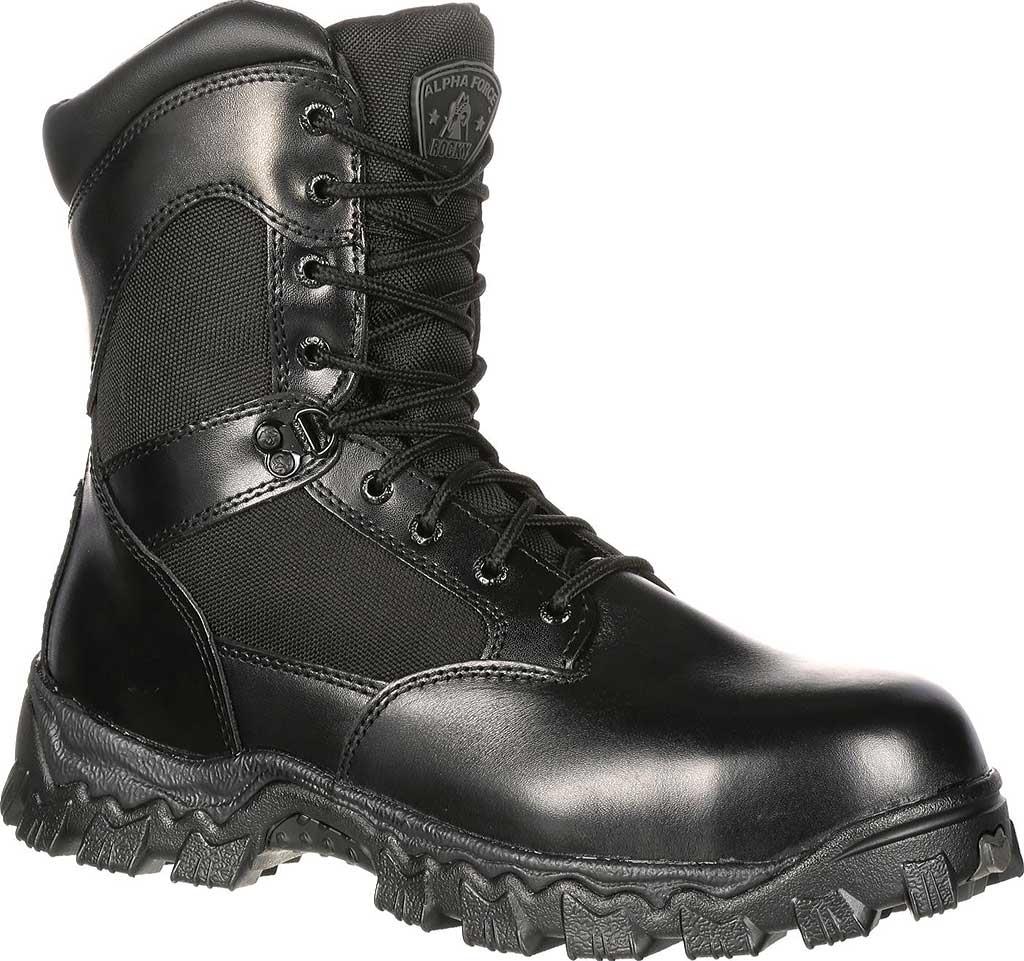 "Men's Rocky AlphaForce Zipper 8"" Composite Toe Work Boot 6173, Black Full Grain Leather, large, image 1"