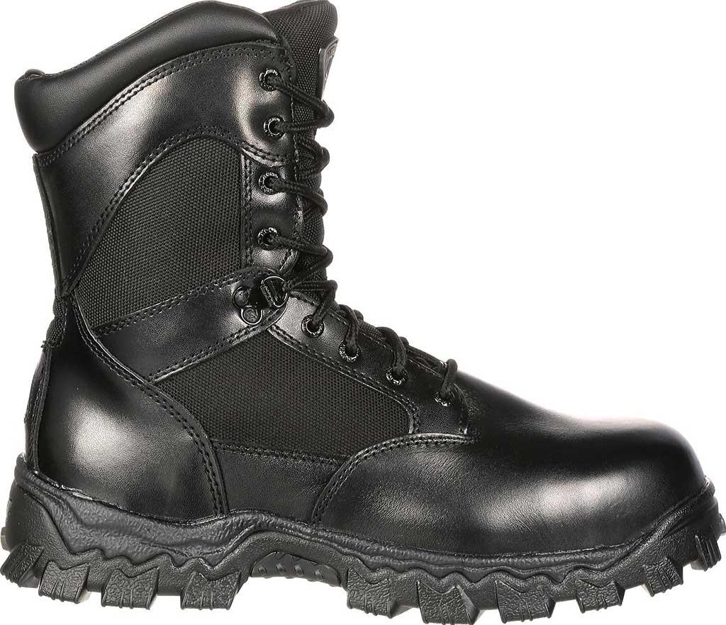 "Men's Rocky AlphaForce Zipper 8"" Composite Toe Work Boot 6173, Black Full Grain Leather, large, image 2"