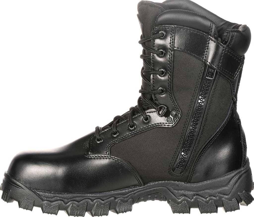 "Men's Rocky AlphaForce Zipper 8"" Composite Toe Work Boot 6173, Black Full Grain Leather, large, image 3"