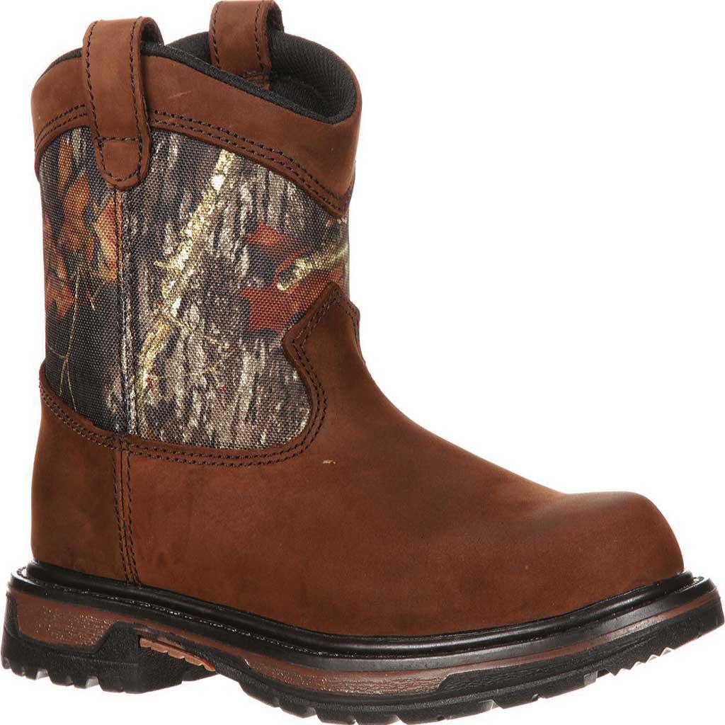 """Boys' Rocky Ride Wellington 8"""" Waterproof Boot 3633, Dark Brown Leather/Mossy Oak Break Up Nylon, large, image 1"""