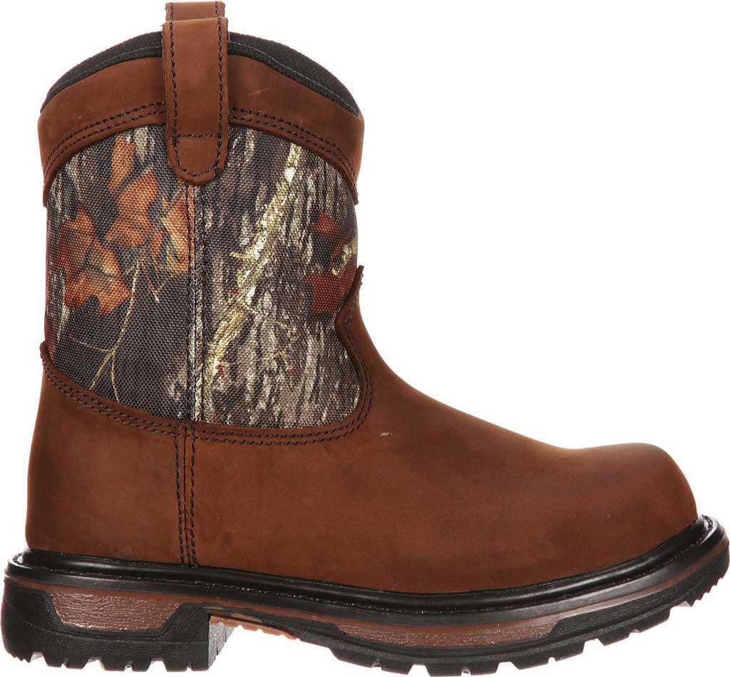 """Boys' Rocky Ride Wellington 8"""" Waterproof Boot 3633, Dark Brown Leather/Mossy Oak Break Up Nylon, large, image 2"""