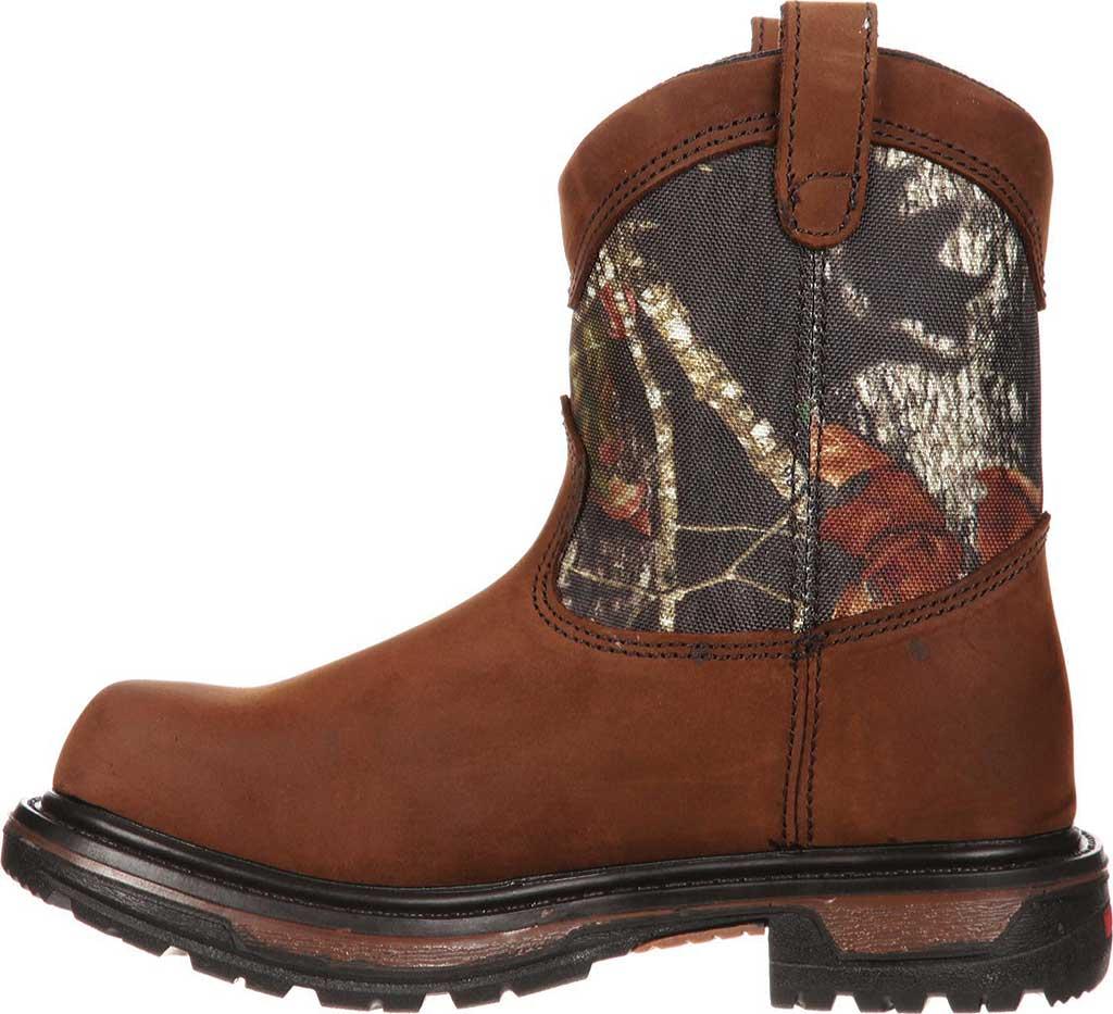 """Boys' Rocky Ride Wellington 8"""" Waterproof Boot 3633, Dark Brown Leather/Mossy Oak Break Up Nylon, large, image 3"""