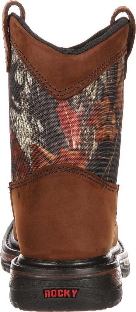 """Boys' Rocky Ride Wellington 8"""" Waterproof Boot 3633, Dark Brown Leather/Mossy Oak Break Up Nylon, large, image 5"""