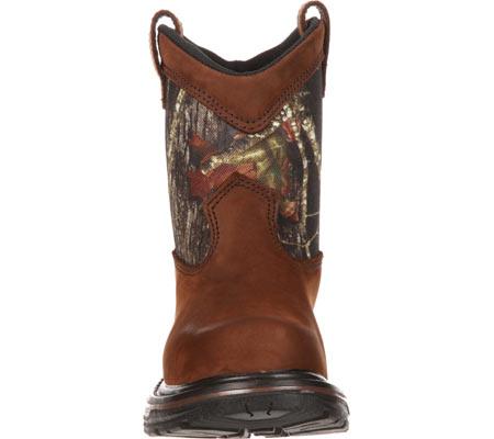 """Boys' Rocky Ride Wellington 8"""" Waterproof Boot 3633, Dark Brown Leather/Mossy Oak Break Up Nylon, large, image 4"""