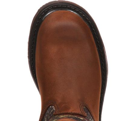 """Boys' Rocky Ride Wellington 8"""" Waterproof Boot 3633, Dark Brown Leather/Mossy Oak Break Up Nylon, large, image 6"""