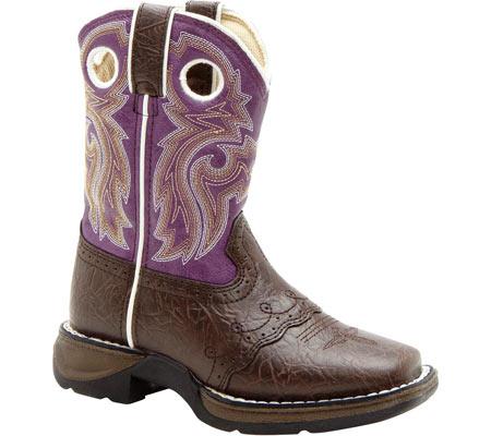 "Girls' Durango Boot BT286 8"" Li'l Flirt, Dark Brown/Purple, large, image 1"