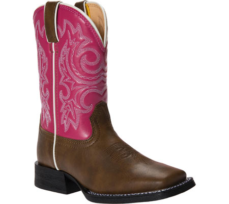 "Girls' Durango Boot BT217 8"" Pull-On, Brown/Hot Pink, large, image 1"