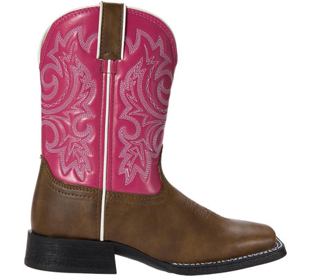 "Girls' Durango Boot BT217 8"" Pull-On, Brown/Hot Pink, large, image 2"