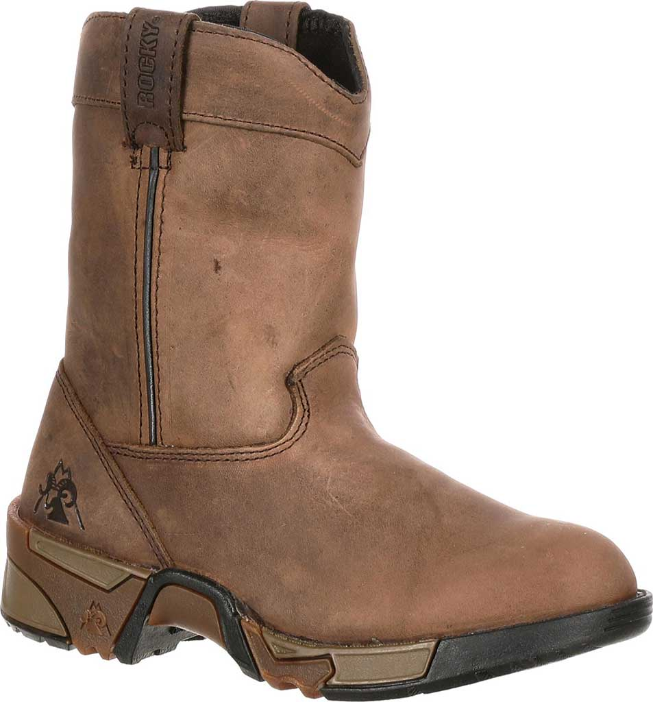 Boys' Rocky Aztec Pull-On Boot 3638, Brown, large, image 1