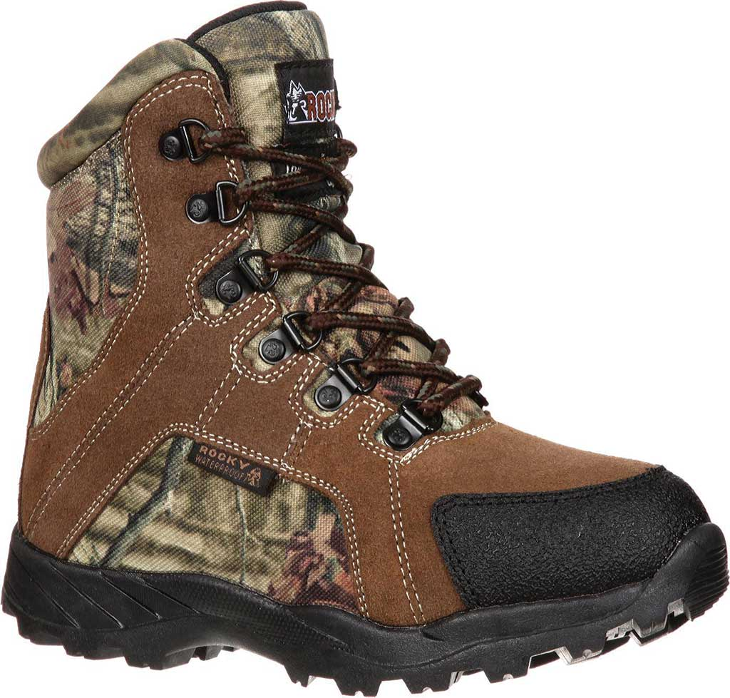 """Children's Rocky 7"""" Hunting Insulated WP Boot 3710, Brown/Mossy Oak Infinity Leather, large, image 1"""