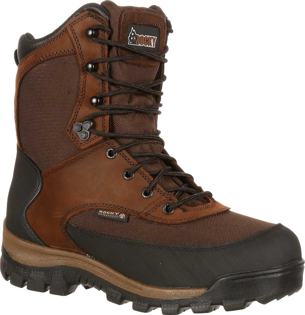 """Men's Rocky 8"""" Core Insulated Outdoor Boot WP 4753, Brown Full Grain Leather/Textile, large, image 1"""