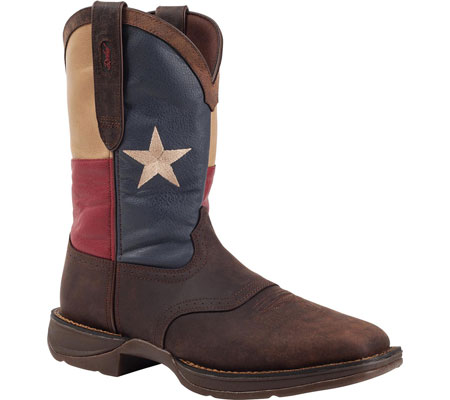"Men's Durango Boot DB021 11"" Flag Pull-On, Dark Brown/Texas Flag, large, image 1"