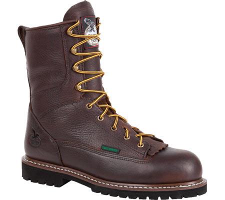 "Men's Georgia Boot G101 8"" Low Heel Logger, Chocolate Leather, large, image 1"