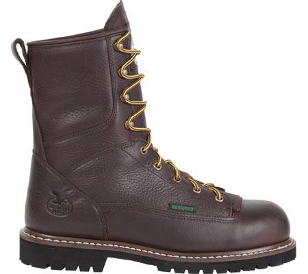 "Men's Georgia Boot G101 8"" Low Heel Logger, Chocolate Leather, large, image 2"