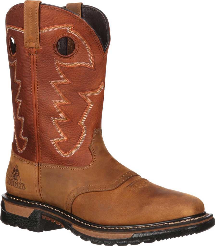 "Men's Rocky 11"" Western Saddle Original Ride Sq. Toe RKYW039, Tan/Ochre, large, image 1"