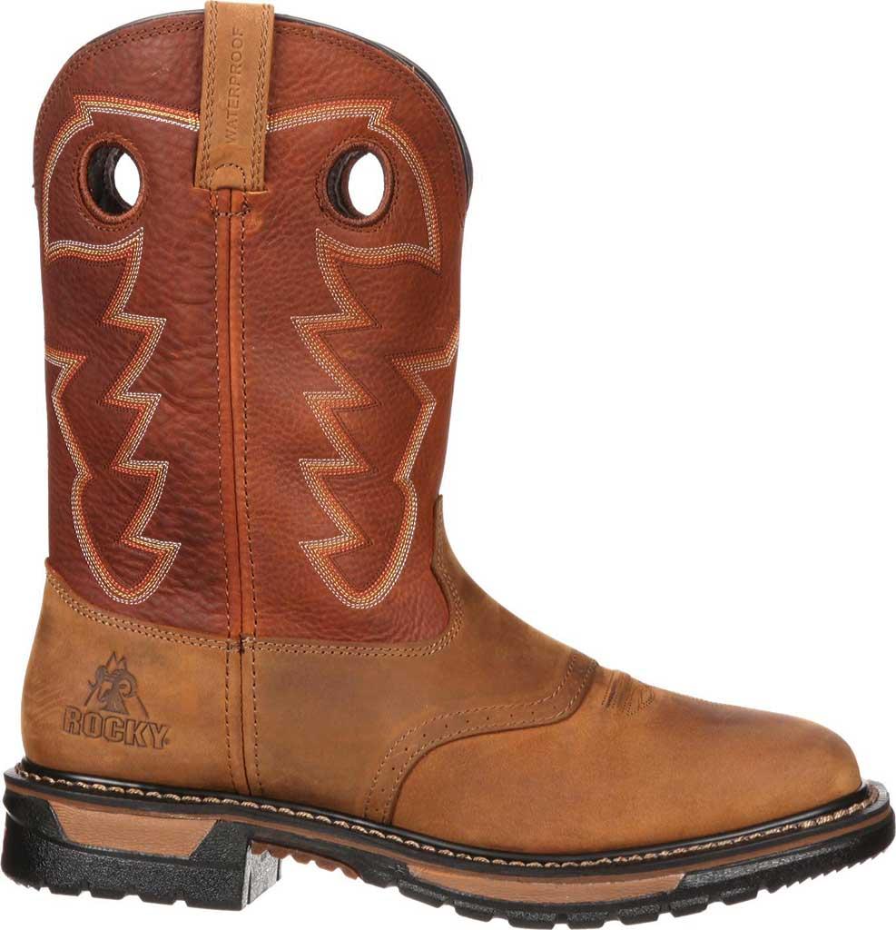 "Men's Rocky 11"" Western Saddle Original Ride Sq. Toe RKYW039, Tan/Ochre, large, image 2"