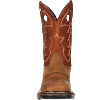 "Men's Rocky 11"" Western Saddle Original Ride Sq. Toe RKYW039, Tan/Ochre, large, image 4"
