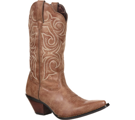 """Women's Durango Boot DCRD177 11"""" Western Scalloped Crush, Cinnamon Synthetic, large, image 1"""