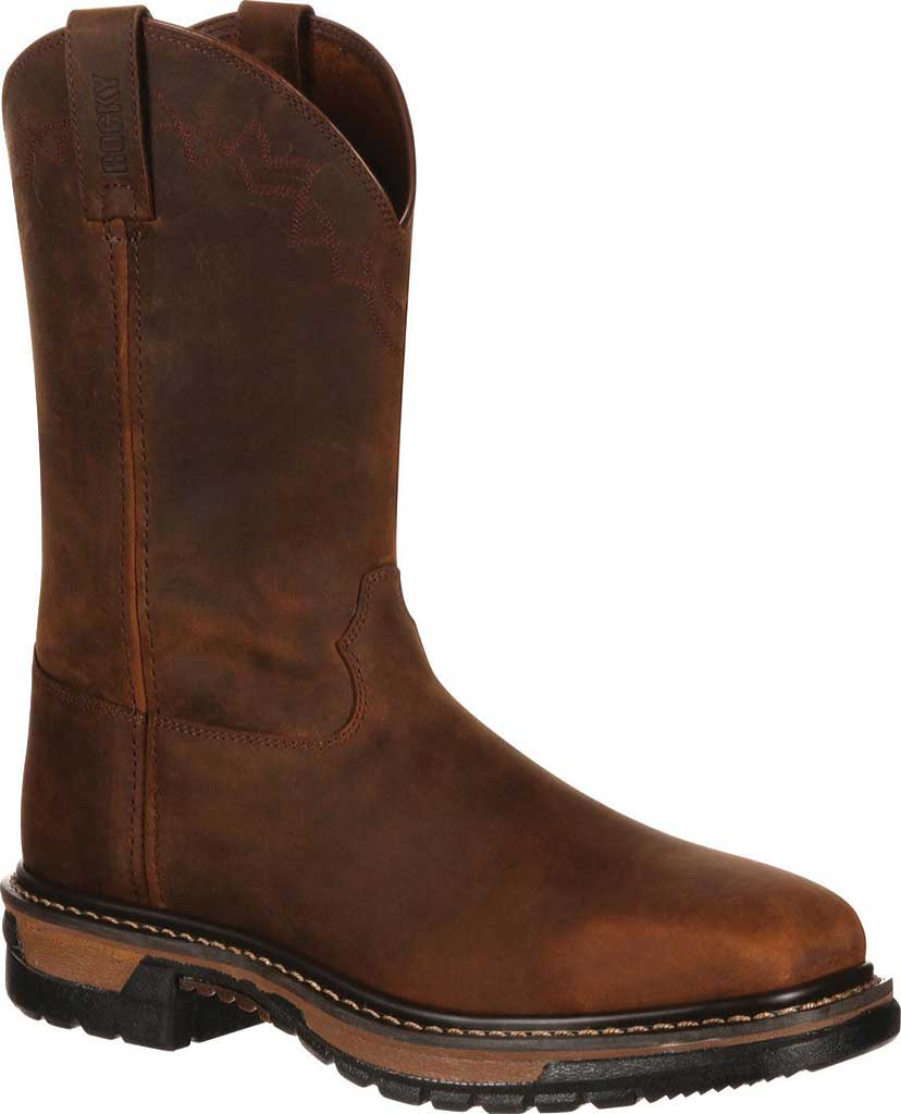 Men's Rocky Western Work Original Ride RKW0131, Dark Brown Leather, large, image 1